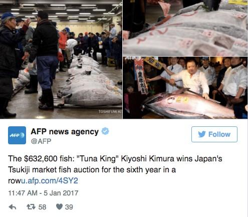 日壽司店老闆「狠撒2000萬元」標下驚世黑鮪魚「完全虧本」,老闆表示:很值得!