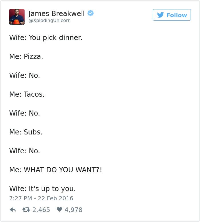 20個讓你嘴角上揚「只有老夫老妻才會懂」真實爆笑對話!#1「男人都共用同一個腦袋」