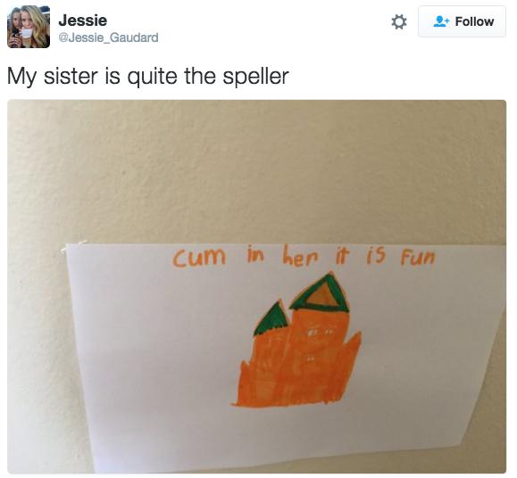 Kids writing beautiful notes like this: