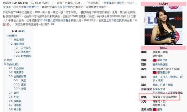 林志玲言承旭2017年結婚「維基百科配偶欄出現名字」?!好友:「知道你低調,希望幸福快樂!」