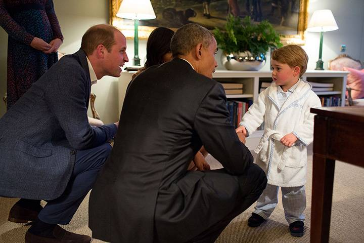 """April 22, 2016: """"Originally it was unclear whether I would be permitted to photograph the President meeting Prince George. But the night before, our advance team called and said they had gotten word from Kensington Palace that they would allow me access to make candid photographs during their visit. Afterwards, this photograph garnered the most attention but at the time all I could think was how the table at right was hindering my ability to be at the optimum angle for this moment."""""""