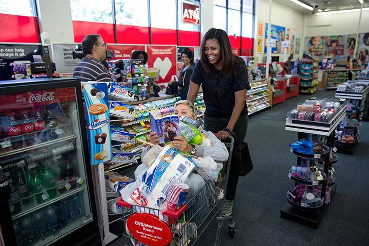 """Sept. 12, 2016: """"The First Lady goes shopping at a CVS Pharmacy in preparation for life after the White House during a segment taping for the Ellen DeGeneres Show in Burbank, Calif."""""""