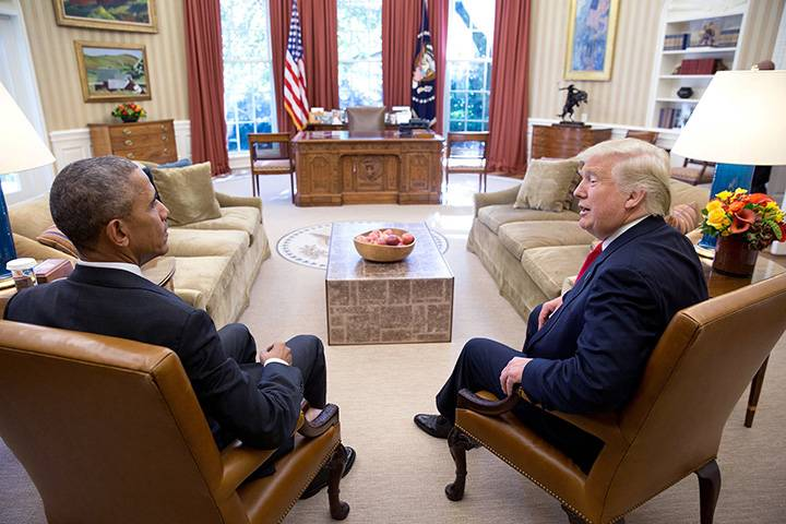 """Nov. 10, 2016: """"Two days after the election, the President meets with President-elect Donald Trump."""""""