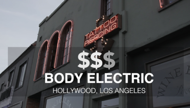 Next up, was Body Electric Tattoo in Hollywood, CA which has been open since 1992. For this tat, Ben wanted to draw on another classic: Willy Wonka. He decided on getting the elevator that they crash through the glass ceiling in, but have it soaring through outer space.