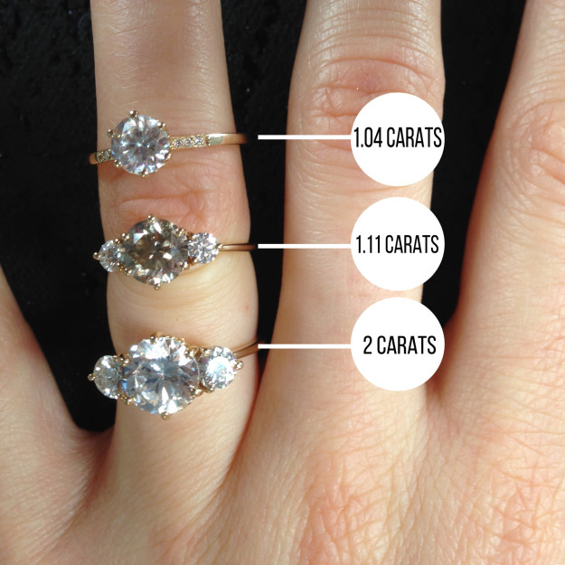 The's a big difference between a 1 carat and a 2 carat diamond.