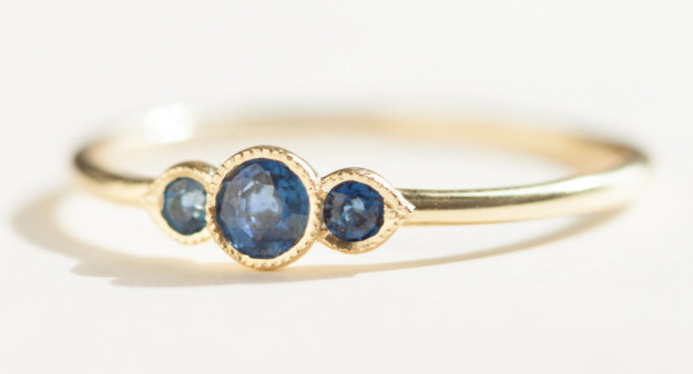 A three-prong sapphire ring for a subtle pop of the blues.