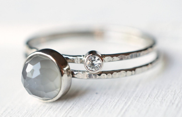An ethereal grey moonstone and moissanite ring set that proves two rings are better than one.