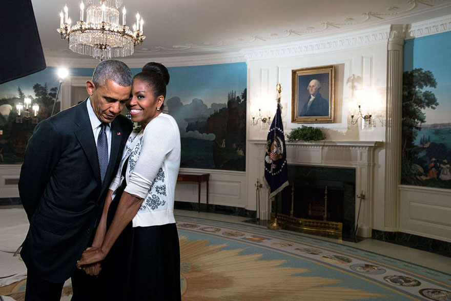 The First Lady Snuggled Against The President During A Video Taping For The 2015 World Expo In The Diplomatic Reception Room Of The White House