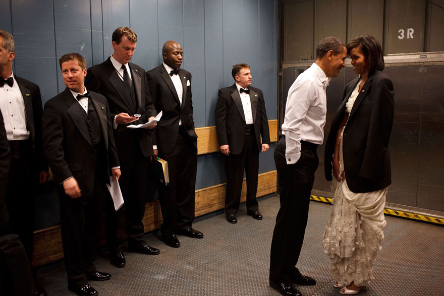 Barack Obama And Michelle Obama Share A Private Moment In A Freight Elevator At An Inaugural Ball In Washington, D.C., Jan. 20, 2009