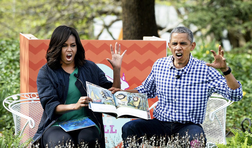 President Barack Obama And First Lady Michelle Obama Imitate Monsters As They Read Where The Wild Things Are During The White House Easter Egg Roll On The South Lawn Of The White House On March 28, 2016 In Washington, D.C.