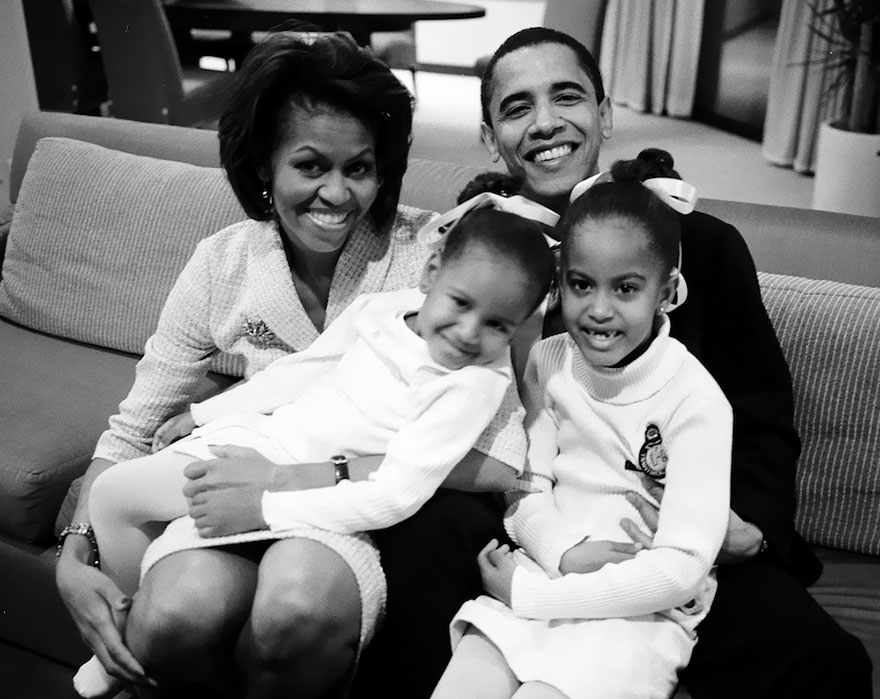 Barack And Michelle Obama, With Daughters Malia And Sasha, Waiting For The Results Of His Senate Bid On Election Night, 2004
