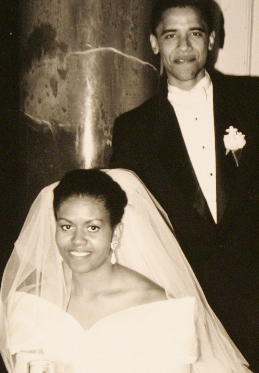 Barack Obama And Michelle Obama In A Family Snapshot From Their Wedding Day, Oct. 18, 1992