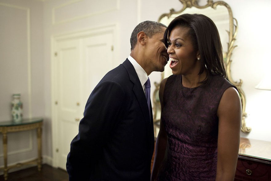 Barack Whispers Something To Michelle During A Break Between Events At The 2011 UN General Assembly