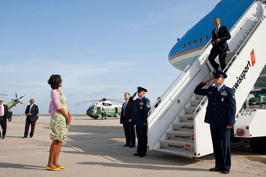 Michelle Obama Waits To Greet Barack Obama Upon His Arrival At John F. Kennedy International Airport In New York, N.Y., June 14, 2012