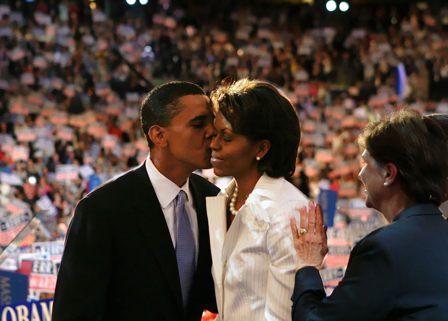 Barack And Michelle Obama On Stage At The Democratic National Convention, 2004