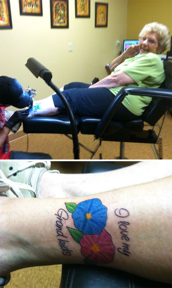 My 83 Year Old Grandma Got Her First Tattoo Today