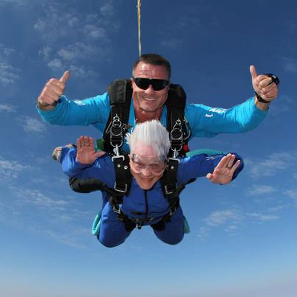 Here's A Picture Of My 83 Year Old Grandma Mid-Skydive