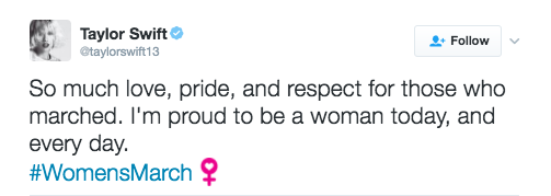 Swift was conspicuously absent, sending her support via this tweet: