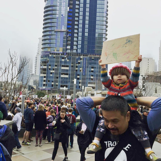 At the march on Saturday, Sowry snapped this picture of her daughter proudly holding up her sign.
