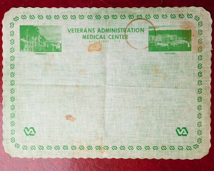 A piece of the past – a note from a very old veterans affairs office.