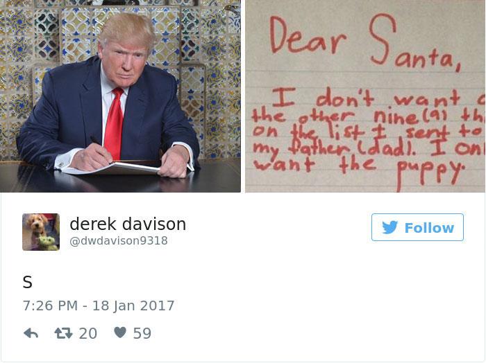 20個「網友猜測川普就職講稿在寫啥」的惡搞推文,#19嫁給普丁!