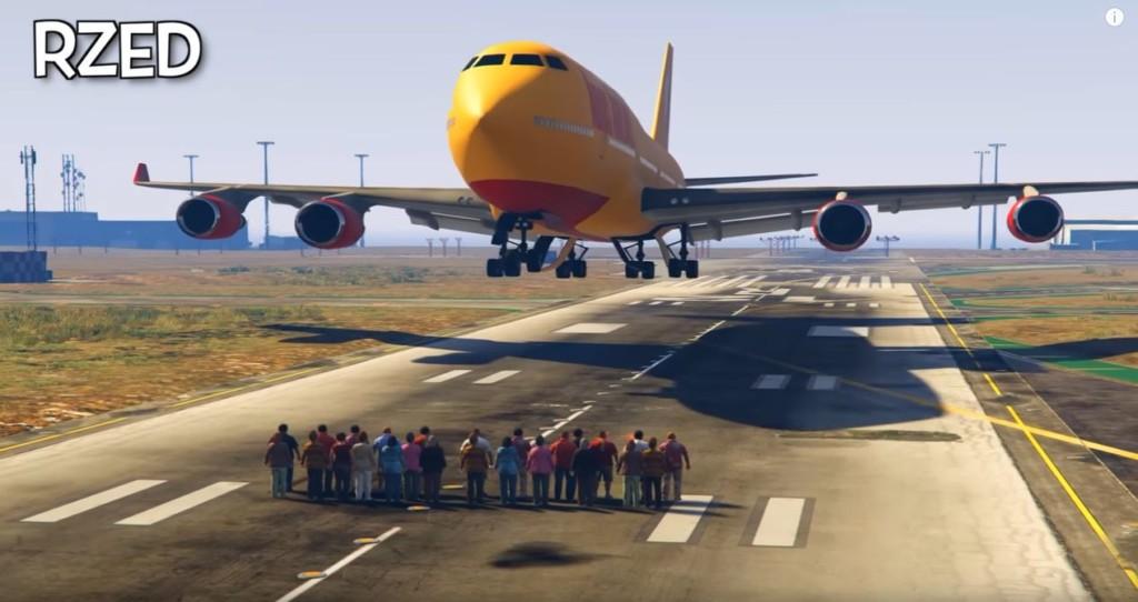 《俠盜獵車手5》神玩家嘗試「100人能不能擋下747大客機」,結果超鬧超享受!