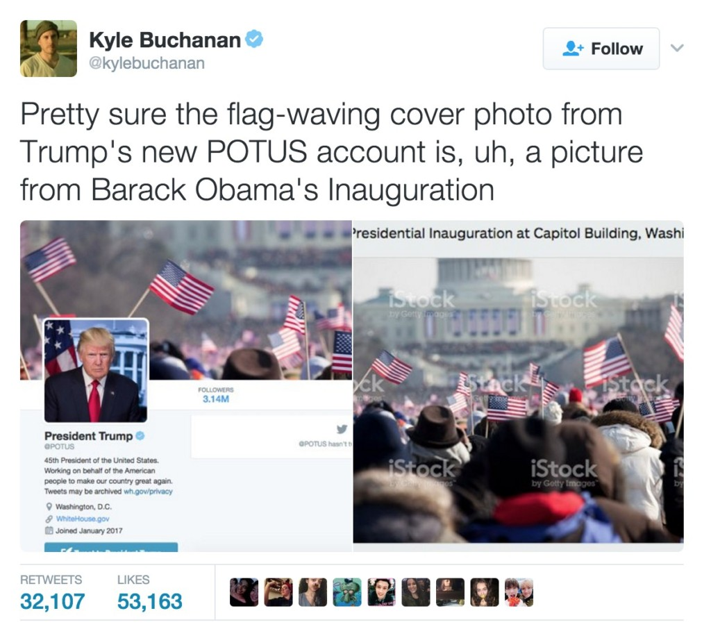 川普美國總統推特帳號「自己就職典禮太少人」,背景圖用「歐巴馬就職典禮照」網友開嗆!
