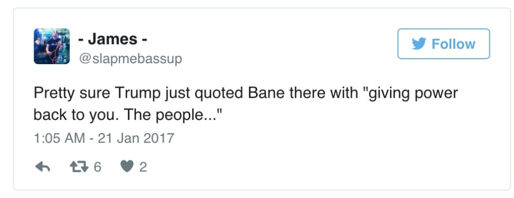 川普就職演講被發現引用「蝙蝠俠反派班恩的話」,網友:「開始擔心了...」