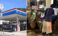 94硬要加!三寶婦人不顧小孩安全「油槍中穿」讓汽油亂噴,網友:「想用油洗車?」