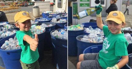 7歲男童花4年撿瓶子「大賺30萬」,當上「環保老闆」夢想買垃圾車!