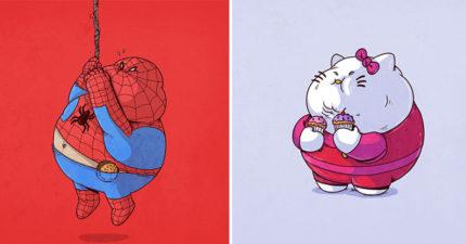 17張全都「吃到過胖」的可愛卡通人物爆笑圖!#14皮卡丘胖到爬不出寶貝蛋!