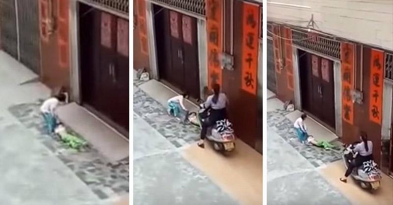 女童被婦人惡意騎車「輾雙腿」,朋友想幫但「她追著輾!」(非趣味/影片)