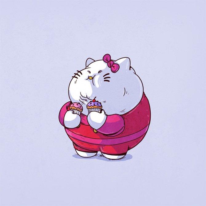 17張全都「吃到圓滾滾」的可愛卡通人物爆笑圖 皮卡丘整個擠不下寶貝球!