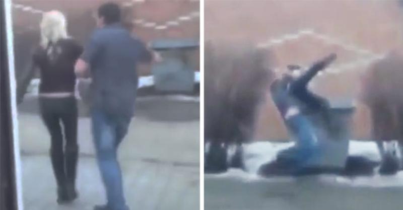 戰鬥民族男子發現女友偷吃,將她帶到後面的垃圾桶旁「直接倒垃圾」!