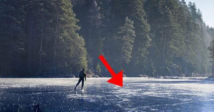 他在結冰湖面上溜冰覺得腳下不對勁 低頭發現「千萬雙眼睛」比恐怖片還驚悚