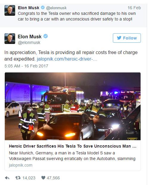 勇車主一看不對勁「犧牲300萬特斯拉名車」去撞後面的車救人,特斯拉執行長:「修車費用全免!」