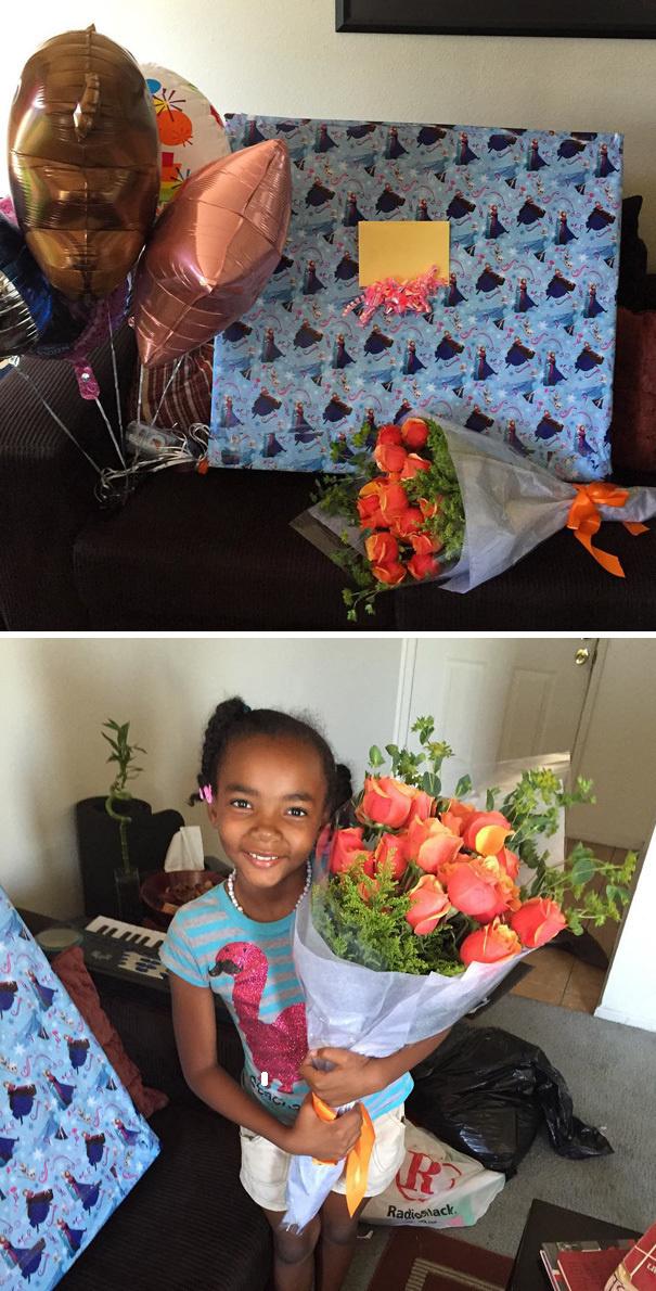 A single dad who got to be the first man to ever give his baby girl 2 dozen roses.