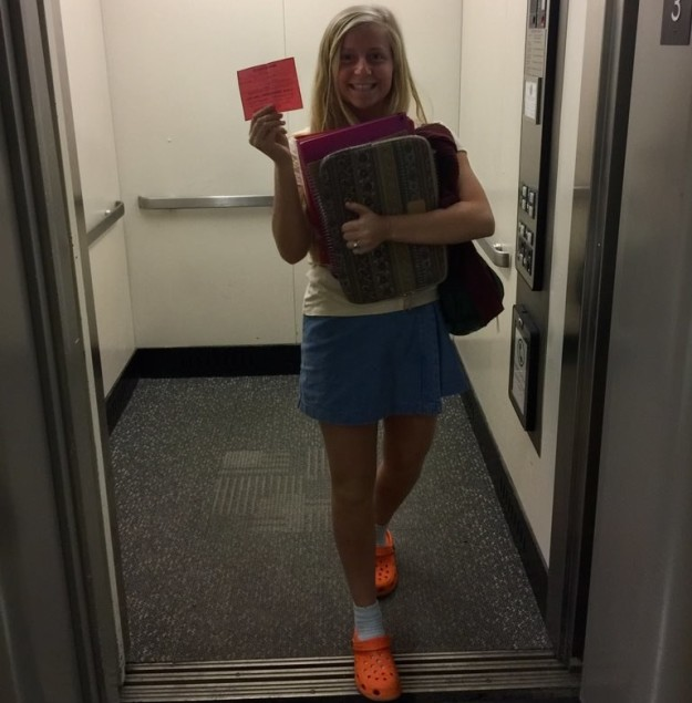 Here's a pic of the teen at school on Wednesday—she has an elevator pass.