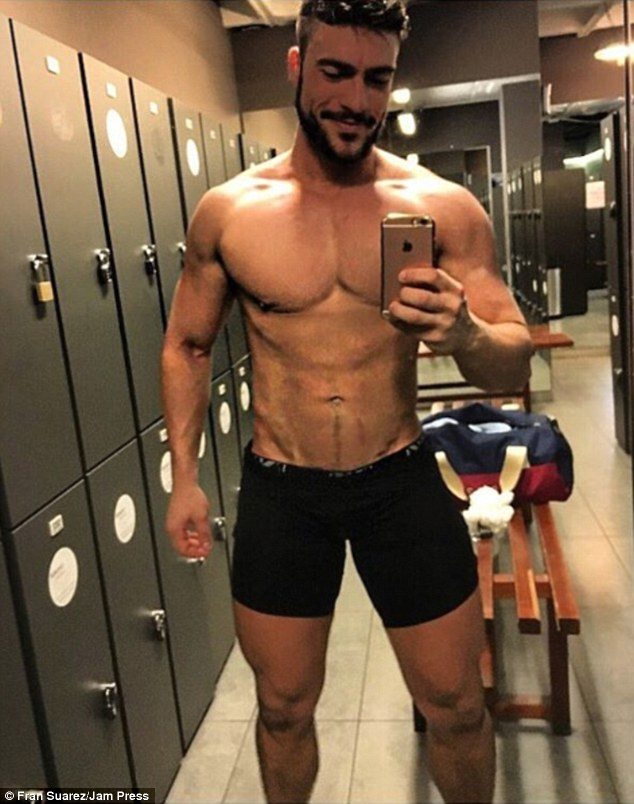 Fitness fanatic: The part-time model and dancer keeps himself looking good with regular trips to the gym. Fortunately for followers, he is also happy to document his changing room regime