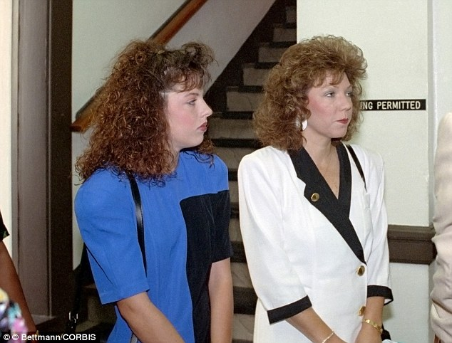 Target: Holloway had wanted to murder Verna Heath, pictured her right arriving in court in August 1991, with her cheerleader daughter Amber