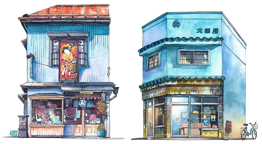 波蘭畫家去過日本震驚用水彩畫下8種隱藏版「文化遺產」建築!他:「日本很多舊樓但很美」