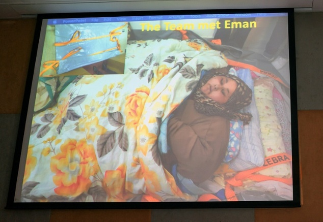 Eman Ahmed Abd El Aty (pictured via video screen at the hospital) weighs around 1,100lb and had not left her house in more than two decades until arriving in Mumbai at the weekend for bariatric surgery