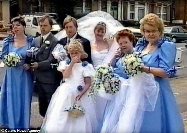 The couple are pictured on their wedding day with their bridesmaids and groomsmen