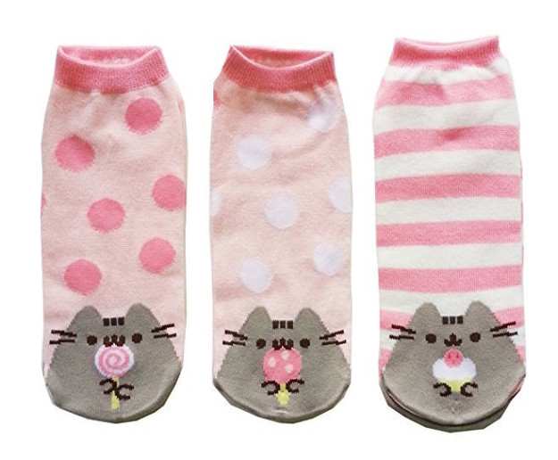 Pair your dark boots with bright pink Pusheen socks for a sweet contrast.