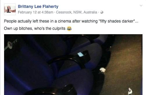 看完《格雷2》影院地上發現「遺留物」,網友噴笑:「對旁邊的人來說太刺激了吧...」