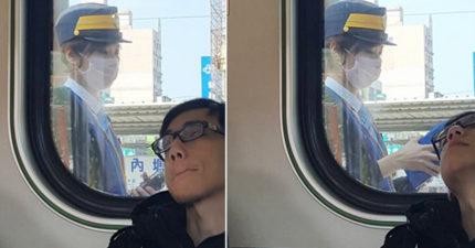 搭火車遇「戀愛系正妹車長」求神正面照,但「右下睡翻男」太搶戲網友求認識意外「釣出本尊」!