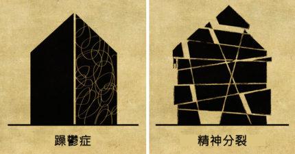 16個人類恐怖心理疾病「被房子化」暗黑插畫,#11「妄想症」太貼切了!
