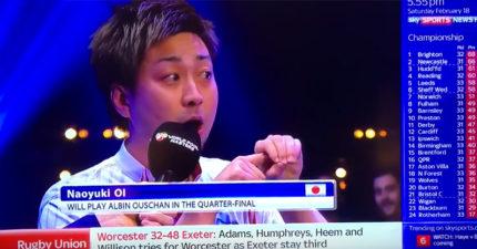 日本撞球手不會英文只好假裝超自信用「PPAP」回答,超誇張雞同鴨講主持人臉秒垮掉... (影片)