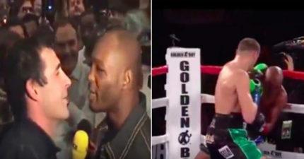 黑人拳擊手「猛嗆」說「永遠都不可能輸給白人」,「討拍」被打到觀眾席中!(影片)