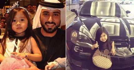 5歲小女孩萌到「阿拉伯高顏值土豪」把她全家移民到杜拜養,現在「每天超跑接送」模樣超可愛! (16張)
